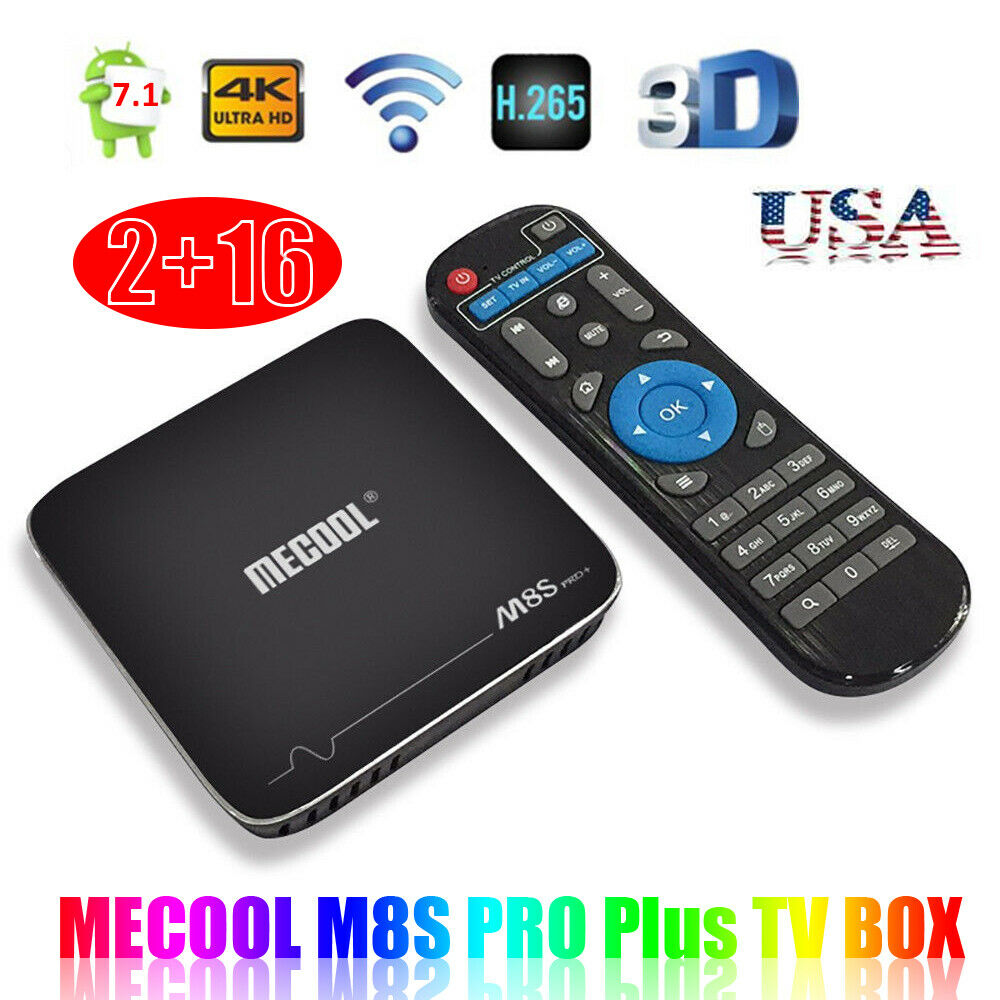 Smart TV BOX MECOOL M8S PRO+ Quad Core 2G+16G Android 7.1 WIFI UHD 4K US L1W5 android box core l1w5 m8s mecool quad smart uhd wifi