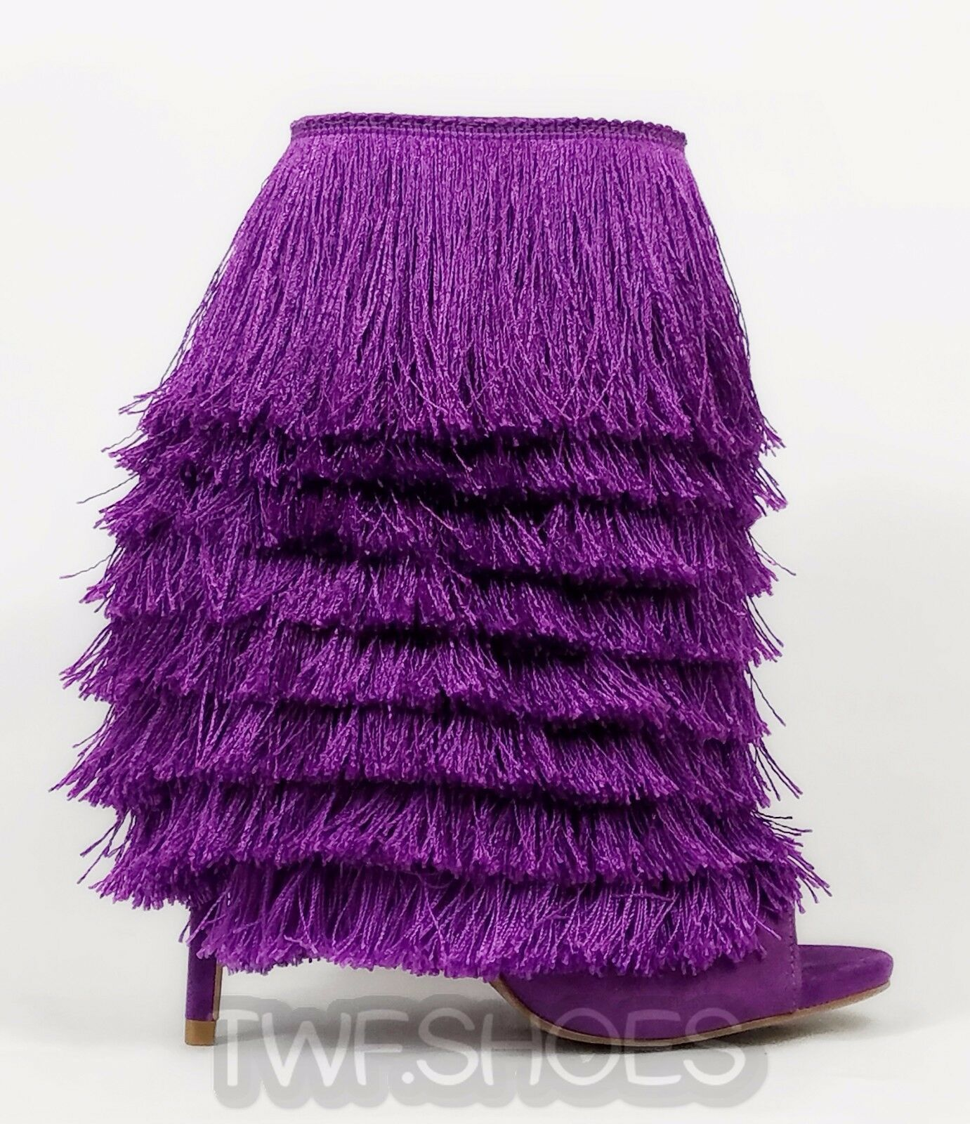 Nelly Bernal Mambo Purple Fun Fringe Open Toe 4.75 Stiletto High Heel Ankle Boot