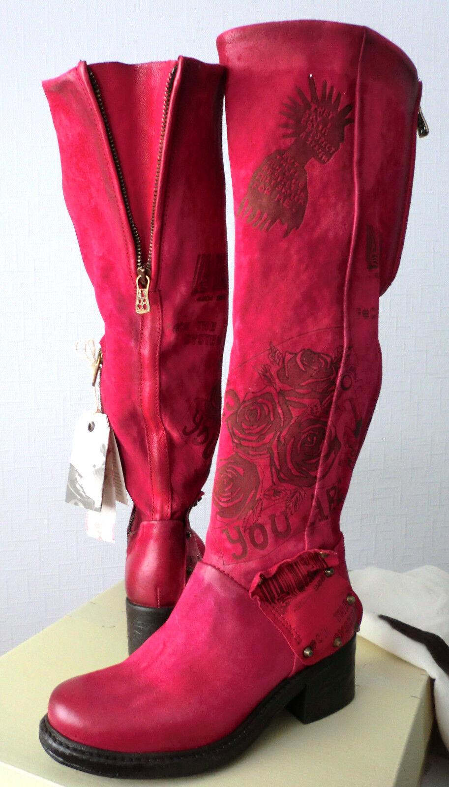 Damen AS98  Leder  Schuhe Stiefel Gr 35  Leder Rot Fuchsia  NEU NP 566894