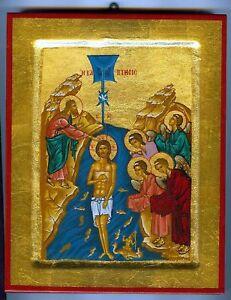 Details About Taufe Jesus Christus Am Jordan Ikone Icon Ikonen Engel Baptism Icoon Ikona Icono