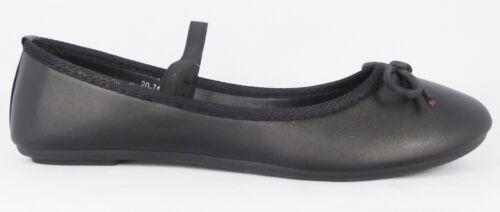 Womens New Girls Black Patent Matt Flat Ballerinas Pumps School Work Shoes 10-7