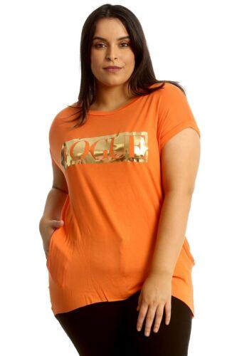Ladies Vogue Slogan Gold Print Casual Fashion T-shirts Dress Baggy Oversize Top