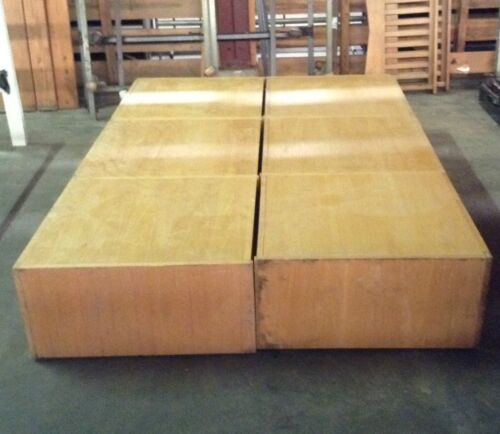 USED ARMY BARRACKS SOLID WOOD PLATFORM BED FROM DOUBLE TO QUEEN 4 DRAWERS