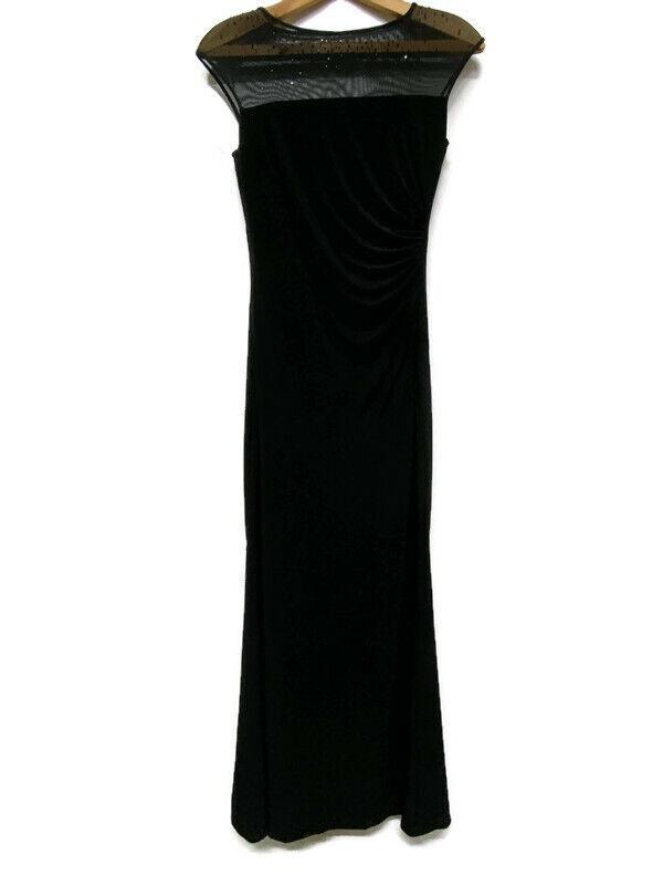Ralph Lauren Evening Gown/Dress Black with Mesh Top Jeweled Size 6 Black Tie