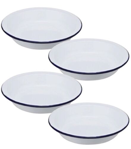 Set Of 4 Enamel Round Pasta Rice Salad Bowls 22cm 9 Inch Oven Dishwasher Safe