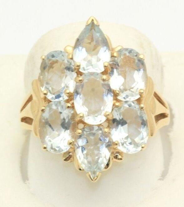 3.50 Carat Genuine Aquamarine Aqua Ring Solid gold Brand New  1,200