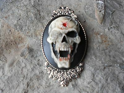 SKULL WITH BULLET HOLE AND FANGS HAND PAINTED CAMEO BROOCH PIN PUNK GOTHIC