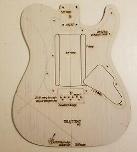 Custom Hybrid Guitar Body Template Tele//strat T Shape4 St Hardtail Parts 3ply