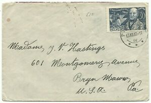 Brief van Bern Zwitserland naar J.V. Hastings Bryn Mawr PA USA 13-12-1930