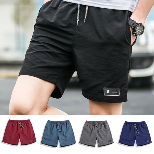 Summer Men Beach Shorts Athletic Gym Sports Fitness Swimwear Trendy Pants M-5XL