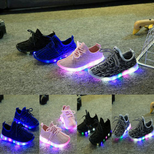 Kids Boys Girls Sports LED Shoes Baby Casual Flats Running Sneaker Mesh Shoes