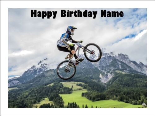 MOUNTAIN BIKE A4 Edible Icing Birthday Cake Party Decoration Topper #1
