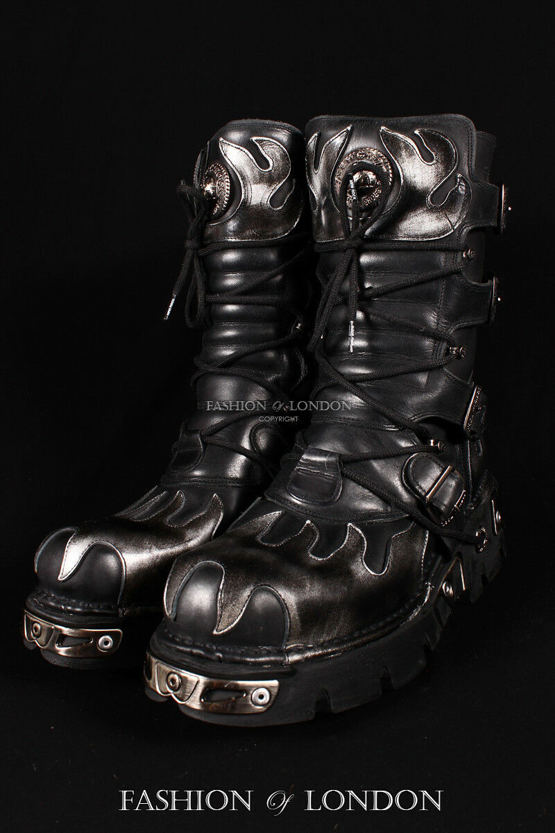 Unisex NEW ROCK 591-S2 Metallic Black & SILVER FLAME Leather Gothic Biker Boots