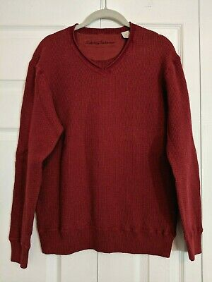Tommy Bahama $148 Roanoke V-Neck Cotton//Wool Knit Red Sweater
