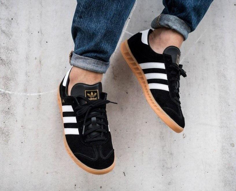 NEW Adidas Hamburg Black Suede / White Stripe  Men's 13  spezial samba