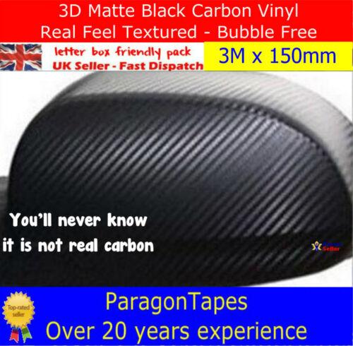 3D BLACK CARBON FIBRE TEXTURED VINYL WRAP film Car Van Truck Bike Tape 1m 2m 3m