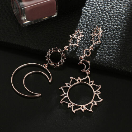 Women Boho Asymmetrical Star Sun Moon Drop Dangle Stud Earrings Jewelry Gift  hj