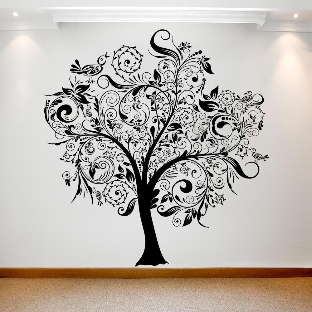 Gran parojo calcomanía adhesivo Art de transferencia de vinilo impermeable extraíble árbol 004 Reino Unido