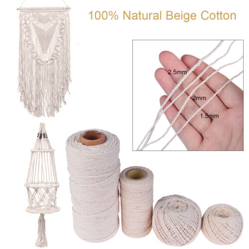 100/% Natural Beige Cotton Twisted Cord Crafts DIY Macrame Artisan String New A+