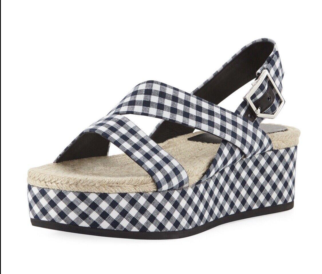New W O Box Rag & Bone Megan Gingham Platform Sandal 8 38