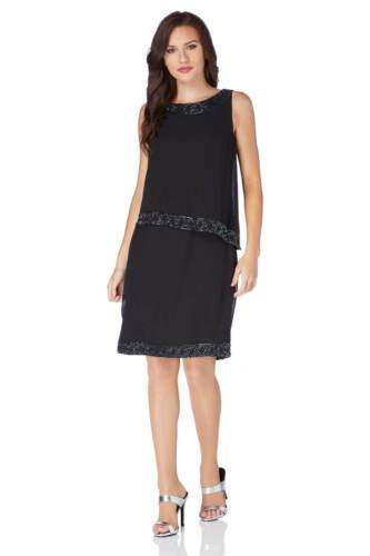 Embellished 10 Sizes Dress Double Layer Roman Originals Black 20 Women's tHUqRBw8