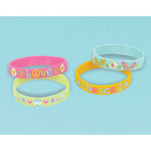 HIPPIE-CHICK-Rubber-Bracelets-Pack-of-4-Favours-Party-Bag-Filler-Birthday