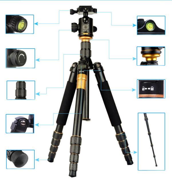 Pro Digital Camera SLR Tripod Monopod Q666 & Ball Head Portable Compact Travel