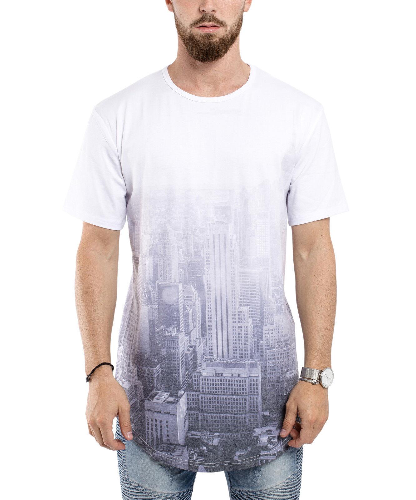 neroskies Città Luminoso OverDimensione T-Shirt Camicia Lunga Uomo Longline New York