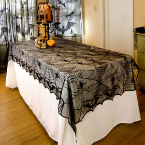 Nappe-Halloween-Toile-D-039-araignee-Table-Fenetre-Decor-Rideau-Fete-Costume-Decor