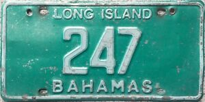 GENUINE-Rare-Bahamas-Long-Island-License-Licence-Number-Plate-Tag-247