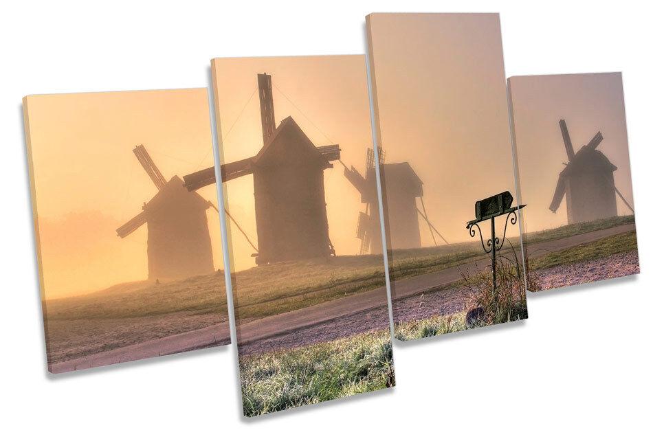 Mulini a vento vento vento PAESAGGIO TRAMONTO Multi canvas arte muro pannello incorniciato c9bb7f