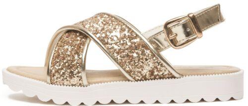 Girls Flat Sandals Kids Flower Glitter Strappy Walking Casual Summer Size UK 4-2