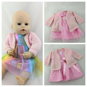 DRESS & CARDIGAN CLOTHES SET FOR BABY ANNABELL 43CM DOLL