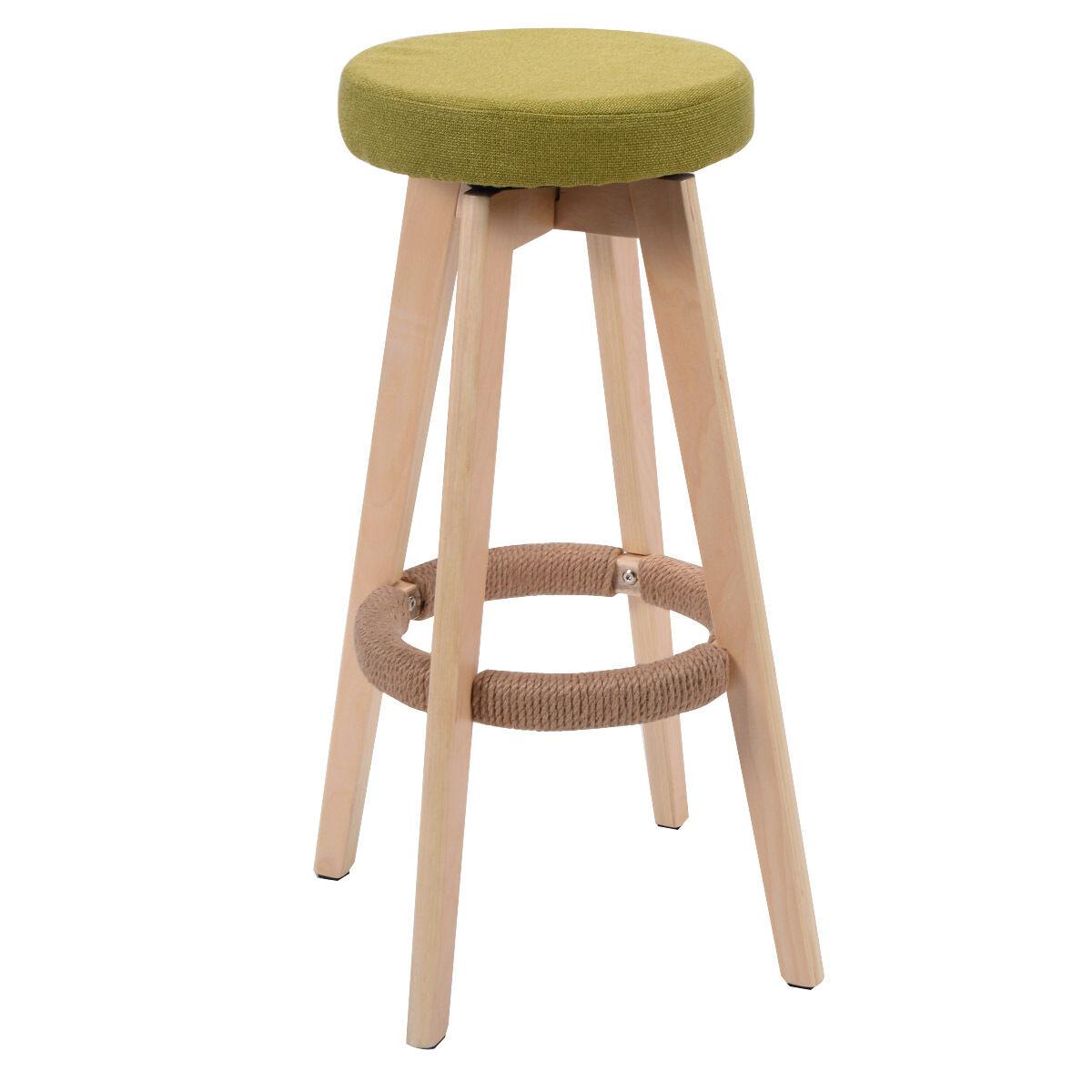 Wooden Furniture Stools ~ Round wooden chair linen bar stool dining counter