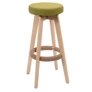 Charmant Image Is Loading Round Wooden Chair Linen Bar Stool Dining Counter