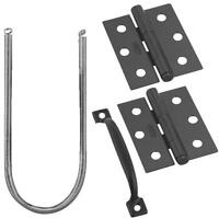 5 Pk Black Steel Handle Hinges Spring Screen Door Building Kit N107409