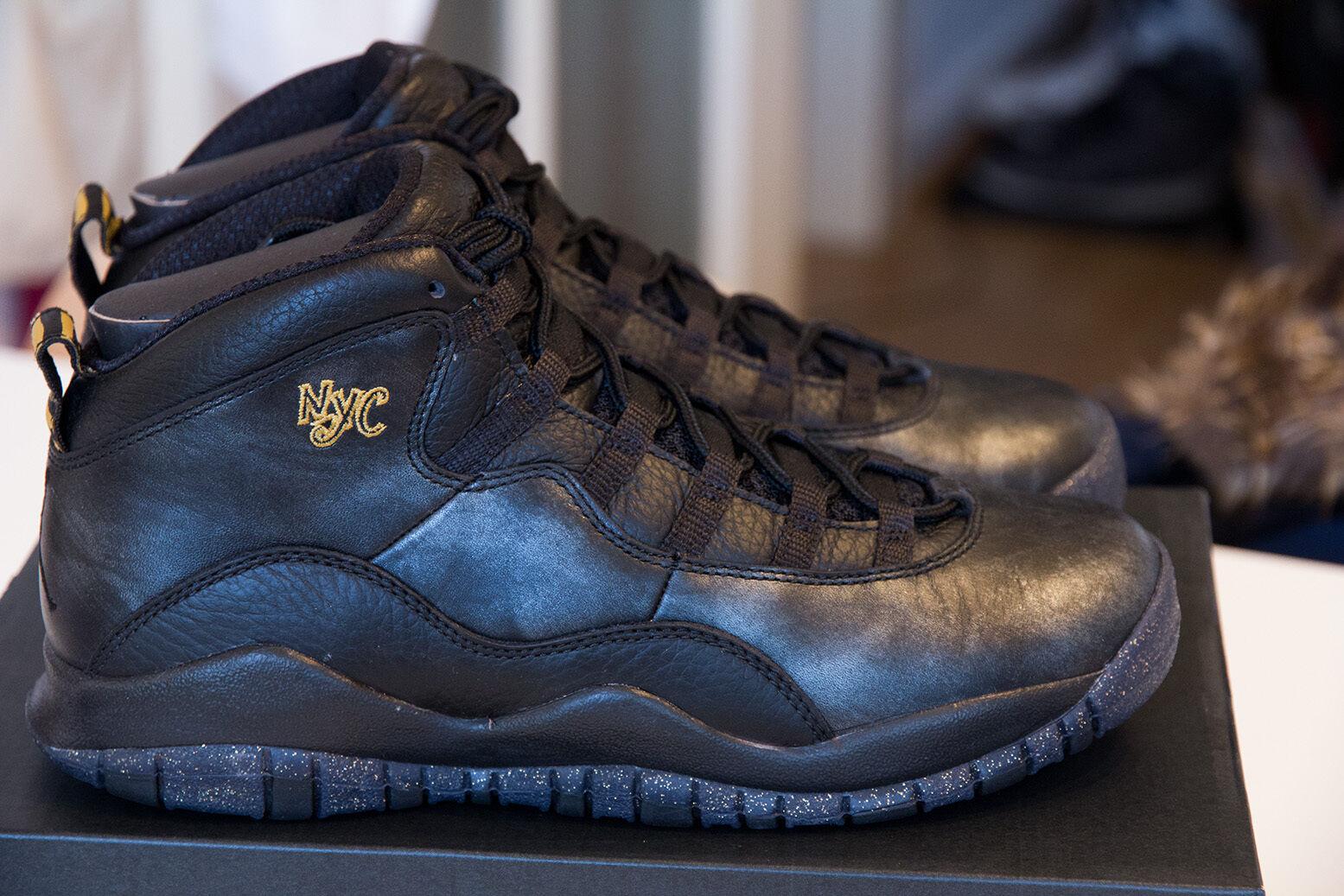 Nike Air Jordan 10 NYC x NYC 10 no ovo 7y 40 GS negro oro d25a75