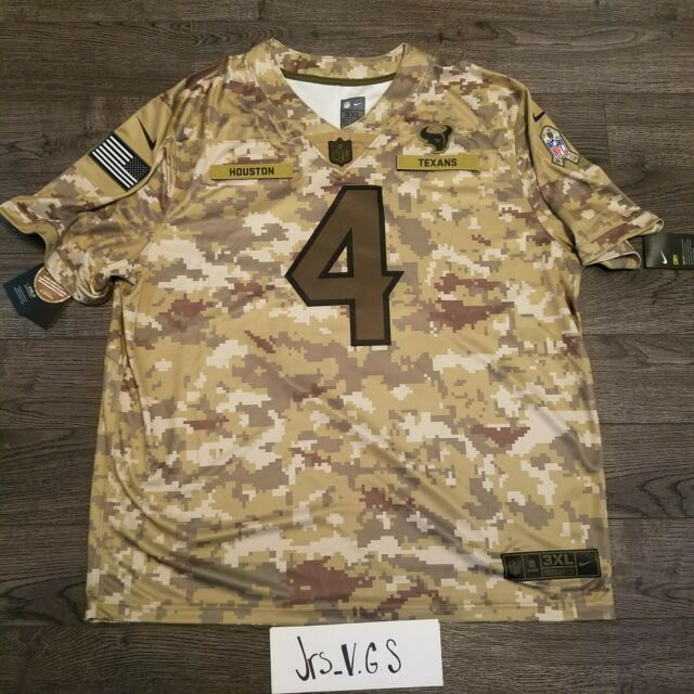 Nike DeShaun Watson Houston Texans Salute to Service Jersey Camo Mens 3xl XXXL