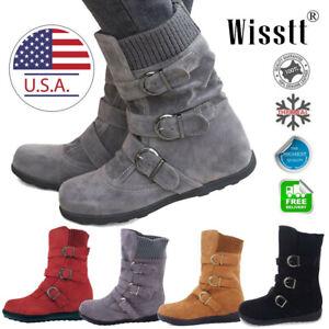 Women-039-s-Winter-Warm-Matte-Booties-Shoes-Buckle-Flats-Short-Ankle-Snow-Boots-Size