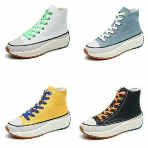 Punk-Womens-Lace-Up-High-Top-Casual-Canvas-Sneakers-Flat-Platform-Oxfords-Shoes