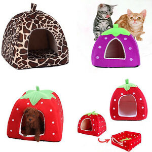 Cat Supplies Alert Cute Foldable Strawberry Pet Bed Dog Cat Kitten Puppy Cave Kennel House With Mat In Short Supply