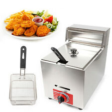 New Listingcommercial Countertop Gas Fryer 1 Baskets Deep Fryer Propanelpg 10l With Lid