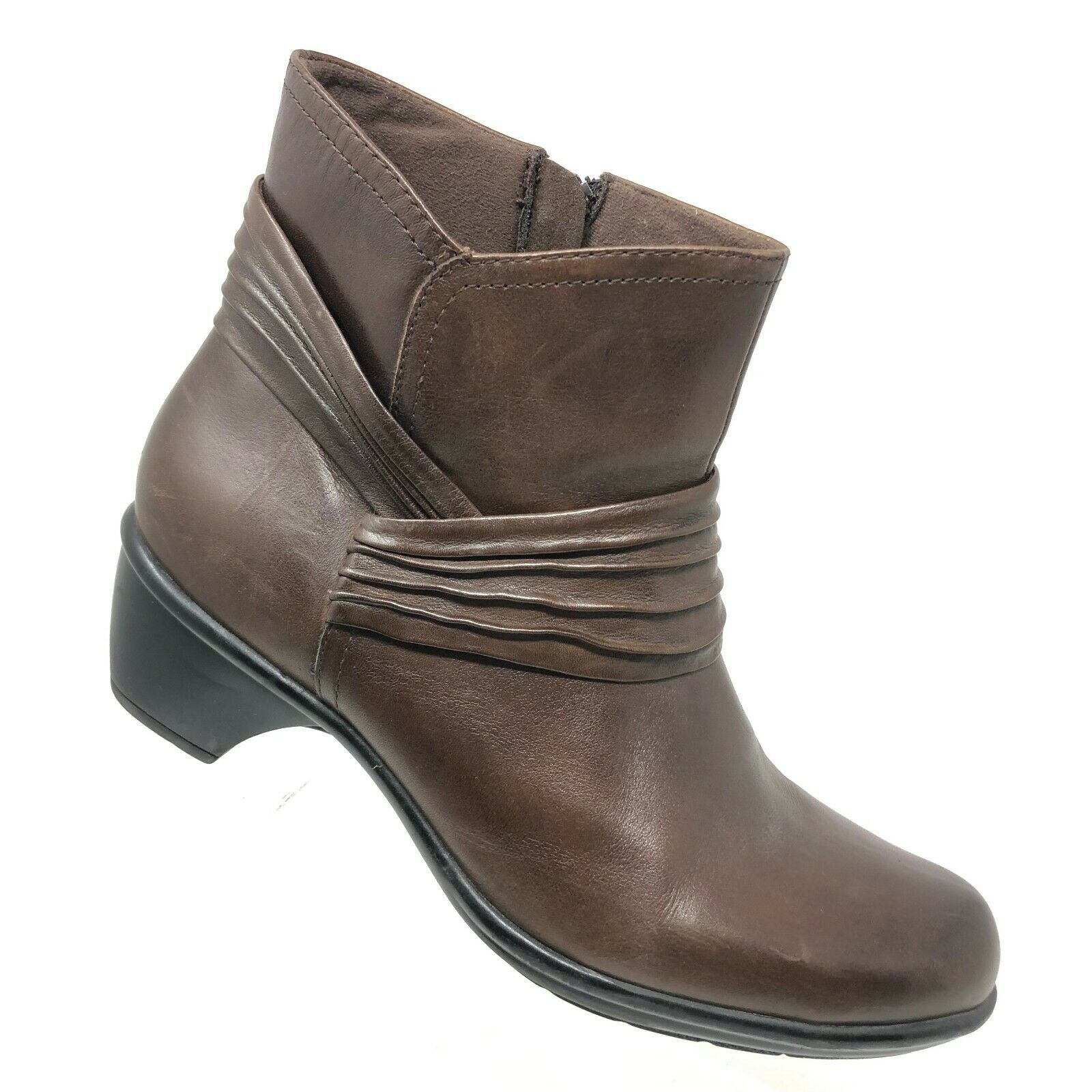 Clarks Bendables Wish Mood Brown Leather Ankle Boot Pleated Zip Womens SIZE 9 M