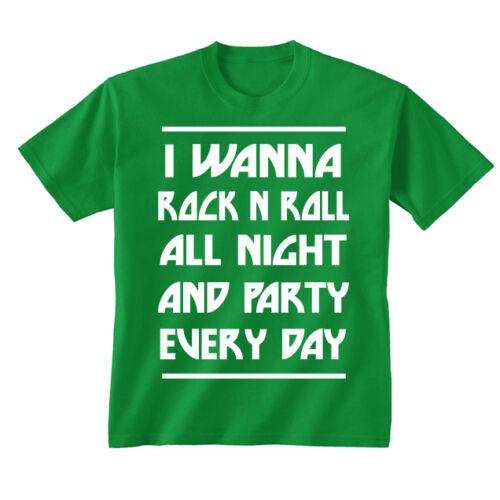 Youth Kids Childrens I Wanna Rock n Roll Kiss Lyrics T-shirt Age 5-13 Years