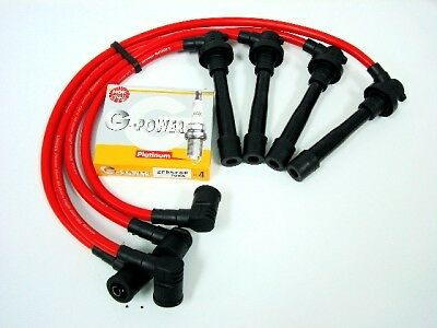 FOR NISSAN SENTRA SR20DE 10.2MM SPARK WIRES NGK G POWER PLATINUM PLUGS KIT RED