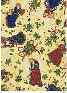 Fat Quarter Bethlehem Angels Christmas Cotton Quilting Fabric  50cm x 55cm