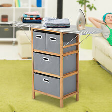 Drop Leaf Ironing Board Laundry Closet Storage Unit 4 Bin Organizer Bamboo New