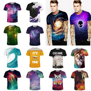 Summer-Mens-3D-Print-Short-Sleeve-Casual-Slim-Fit-T-Shirts-Graphic-Tee-Shirt-NEW