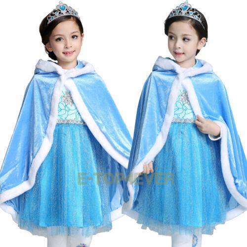 Girls Princess Sofia Elsa Anna Belle Hooded Cape Costume Cloak Winter Dress up