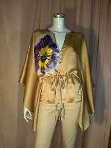 Elegante-blusa-caftano-CRISTINAEFFE-tg-42-44-100-seta-e-perle-beige-dorato